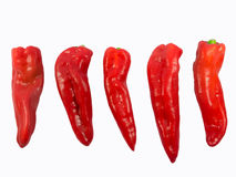 Peppers. Five red peppers on a white background stock images