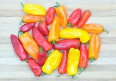 Peppers. Colorful peppers on bamboo red yellow and orange Stock Photography