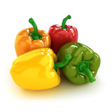 Peppers. Arrangement of four different colorful Bell peppers Royalty Free Stock Photography