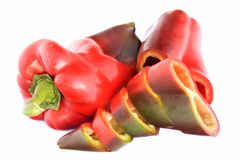 Peppers. Red peppers isolated on white background Royalty Free Stock Image