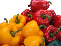 Peppers. Red and yellow peppers in white background Stock Photo