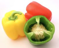 Peppers. Red, yellow and green peppers Stock Photography