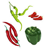 Peppers. Clip-arts of various peppers Royalty Free Stock Photos