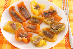 Peppers with anchovy fillets Royalty Free Stock Images