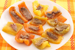 Peppers with anchovy fillets Stock Images