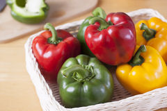 Peppers in basket prepare for cooking Royalty Free Stock Images