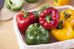 Peppers in basket prepare for cooking Royalty Free Stock Photo
