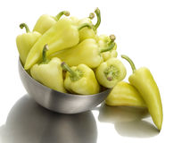 Peppers In A Bowl On White Background Stock Photography