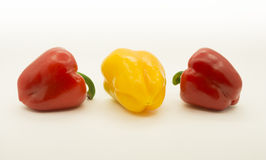 Peppers. Bright juicy peppers: red and yellow on a white background Stock Images