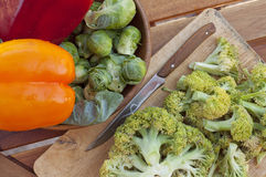 Peppers, brussels sprouts, cucumber and cabbage broccoli Stock Photography