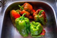 Peppers. Close up view of red and green peppers Royalty Free Stock Images