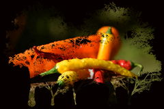 Peppers. Colorful peppers on a background of trees colors red orange yellow green food spicy Stock Images