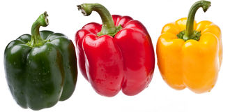 Peppers, Completely Isolated Royalty Free Stock Images