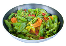 Peppers cooked in a saucepan. Stock Image