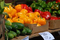 Peppers and cucumbers for sale Stock Images