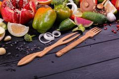 Fresh vegetables and fruits with cutlery stock photo