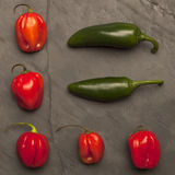Peppers on a dark plate. Red and green peppers on a dark plate Royalty Free Stock Image