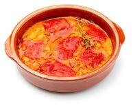 Peppers del Piquillo farcito con carne o il pesce immagine stock