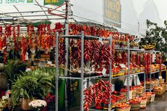 Peppers on display at farmers market in Montreal, Canada stock photo
