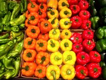 Peppers on display at a market Royalty Free Stock Photos