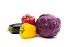 Peppers, eggplant and red cabbage isolated on white background Royalty Free Stock Photography