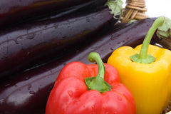 Peppers And Eggplants stock images