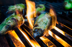 Peppers in Flames on the Grill Royalty Free Stock Photography