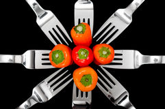 Peppers and Forks Stock Photos