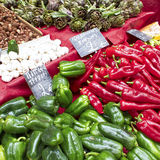 Peppers, Garlic And Artichokes At The Local Market Royalty Free Stock Images