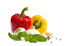 Peppers, garlic, basil. Royalty Free Stock Photography