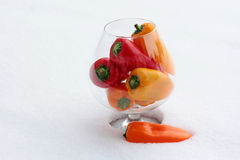 Peppers in glass. Fresh cold peppers in glass stock photography