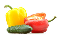Peppers and green cucumber isolated Stock Photography