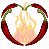 Peppers heart Stock Image