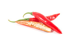 Peppers isolated on white. Red hot chilli peppers isolated on white background Royalty Free Stock Photo