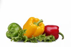 Peppers,  lettuce. On a white background Stock Image