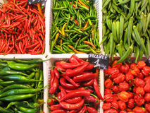 Peppers at the market. Red and green peppers and okra at the market stall Royalty Free Stock Photography