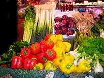 Peppers at the market royalty free stock photography
