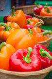 Peppers on a Market Stall. Royalty Free Stock Photo