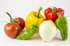 Peppers, onions, tomatoes. On white background Stock Photo