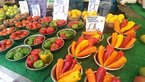 Peppers. Organic peppers at UK local market stock photography