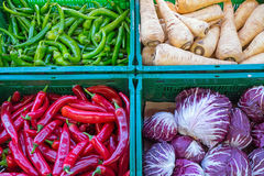 Peppers and other vegetables. For sale at a market Royalty Free Stock Photography
