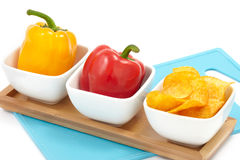 Peppers with Paprika Chips Stock Photos