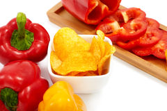Peppers with Paprika Chips Stock Image