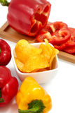 Peppers with Paprika Chips Stock Photography