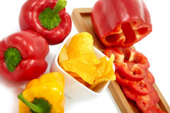 Peppers with Paprika Chips Royalty Free Stock Photos