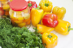 Peppers, parsley, dill and conservation Stock Photography