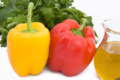 Peppers, Parsley And Oil Stock Image