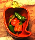 Peppers in a pepper bowl. Red, orange and green peppers in a ceramic bowl shaped like a pepper Stock Image