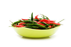 Peppers in plate isolated Stock Photos