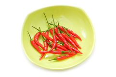 Peppers in plate isolated Stock Images